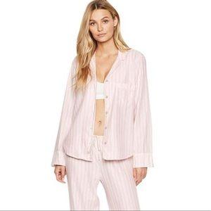 Victorias Secret Pink White Striped Flannel Pajama